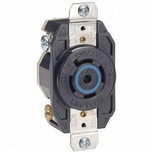 Leviton Black Locking Receptacle  20 Amps  120  208vac