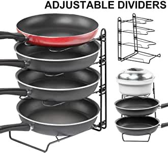 amazoncom height adjustable pot pan  lid organizer rack gusgu detachable cookware holders