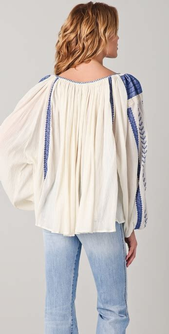 lyst mes demoiselles nastasia embroidered blouse in blue