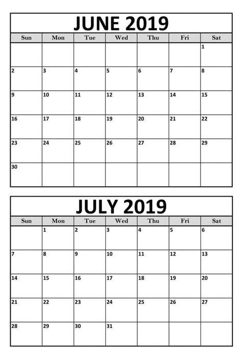 blank june july calendar printable template magic calendar