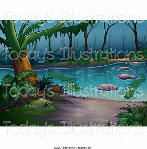 Clipart of a Swamp with Alligators by colematt - #8596