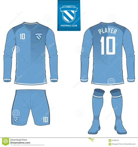 jersey longsleeve soccer kit or football jersey template for football club