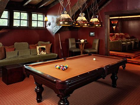 red pool table light pool table in living room home theater rustic with tan