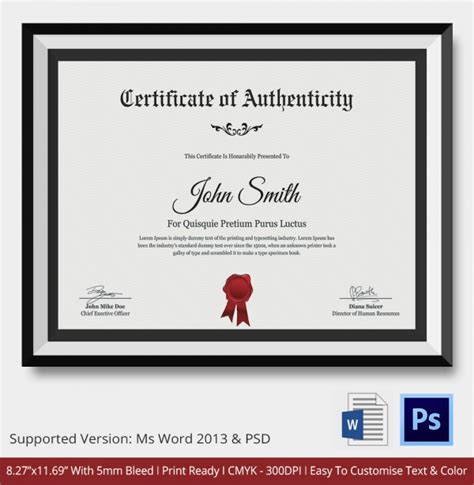 Certificate Of Authenticity Template by 36 Sle Certificate Of Authenticity Templates Sle
