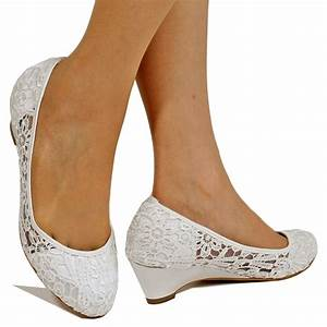 new ladies bridal low wedge heel ivory white satin floral With wedding dress shoes wedges