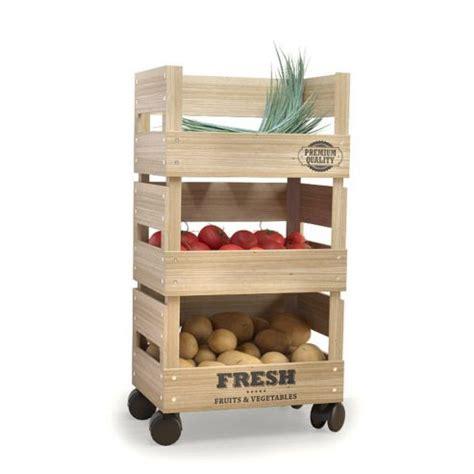 wooden trolley 3 tier kitchen fresh vegetable fruit