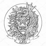 Zodiac Coloring Leo Pages Signs Sign Adults Adult Colouring Horoscope Lion Vector Sheets Fotolia Books Printable Animal Mandalas Scorpio Mandala sketch template