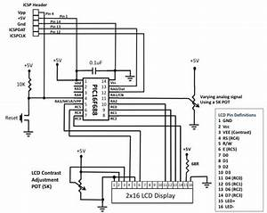 analog to digital conversion using pic16f688 embedded With tft lcd display datasheet wiring diagrams electronic circuits
