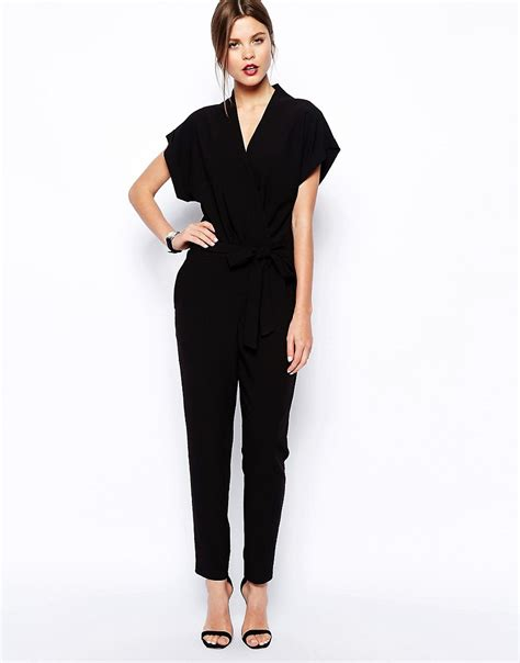 asos jumpsuit asos asos jumpsuit with tie waist and sleeves at asos