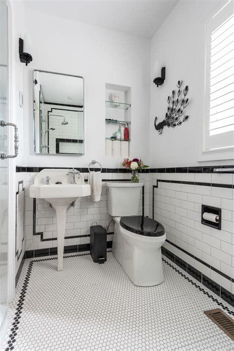 black  white art deco bathroom traditional bathroom