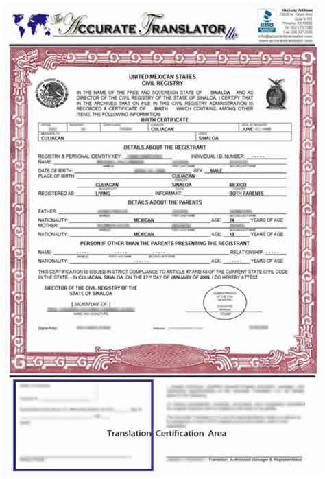 Mexican Marriage Certificate Template by Birth Certificate Translation Template Mexico Templates