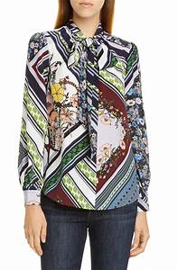 Tory Burch Printed Bow Silk Blouse Nordstrom