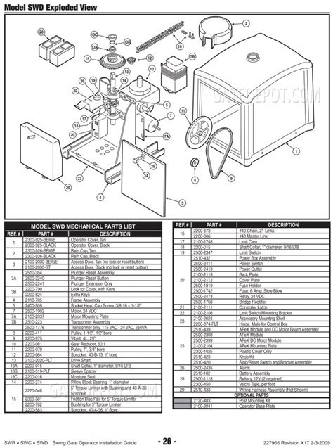 replacement parts diagram linear osco swd parts diagram