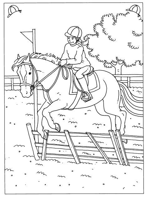 Kleurplaat Paardrijden Springen by Kleurplaat Paard