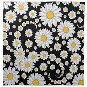 Cute White Daisies on Black Background Printed Napkins ...