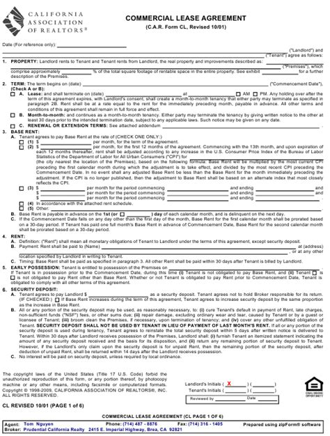 commercial lease agreement form california association