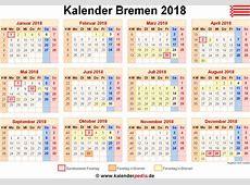 Kalender 2018 Bremen Ferien, Feiertage, WordVorlagen