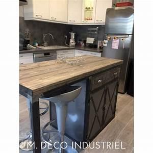 meuble industriel ilot centrale de cuisine m deco With meuble de cuisine ilot central