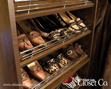 slanted shoe shelves with chrome rails louis
