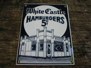 WHITE CASTLE HAMBURGERS PORCELAIN-COATED DINER SIGN C