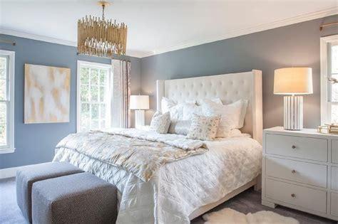 Restful White And Blue Bedroom Boasts Slate Blue Walls