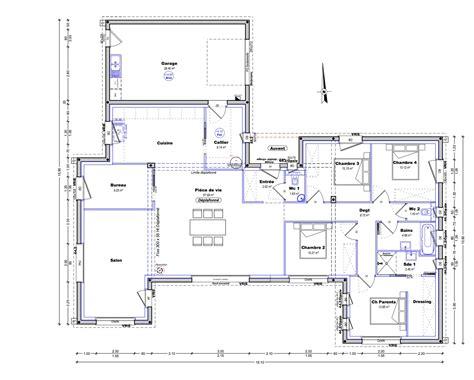 plan maison plain pied 4 chambres maison moderne