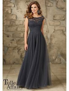 Mori lee 111 lace top and tulle skirt charcoal for Charcoal dresses for weddings