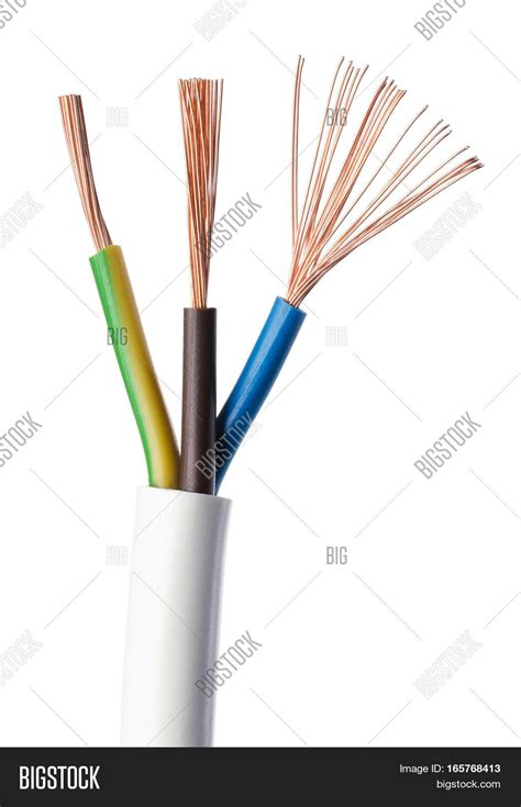 brown blue wires electrical power cable image photo free trial bigstock