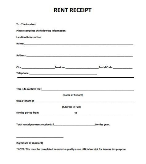 Rent Receipt Template 6 Free Rent Receipt Templates Excel Pdf Formats