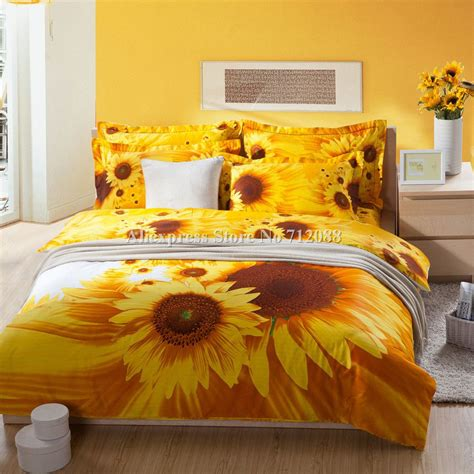 Bedroom Quilt Sets by Selling Yellow Sunflower Printed Cotton Bedding Sets