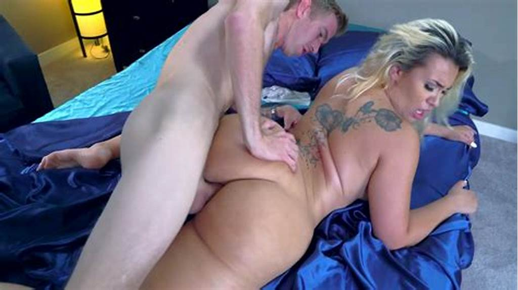 #A #Big #Ass #Blonde #With #Tattoos #On #Her #Back #Is #Getting