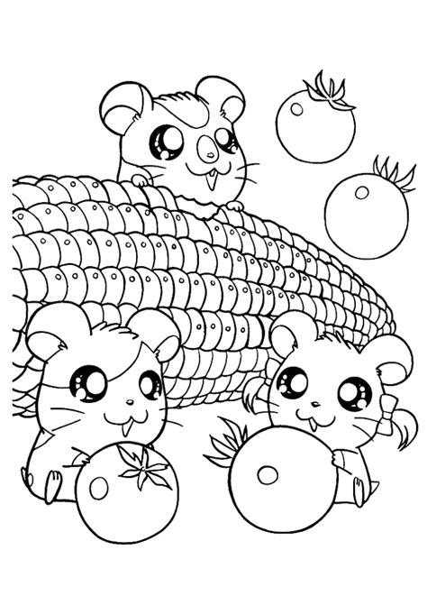 cute hamsters sleeping hamtaro coloring page cartoon