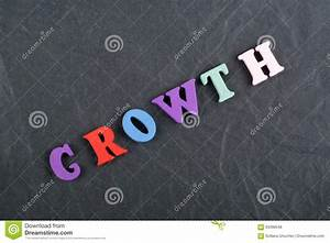 growth word on black board background composed from With black word board with white letters