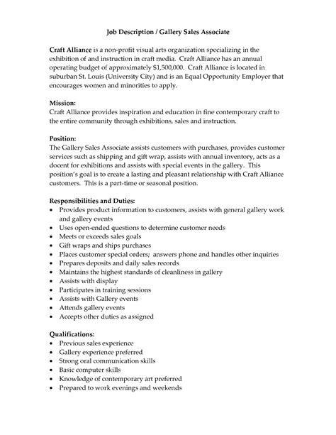 Descriptions For Resume by Description Of Retail Sales Associate For Resume Sales