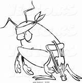 Crutch Coloring Bug Cartoon Survivor Outlined Using Toonaday sketch template