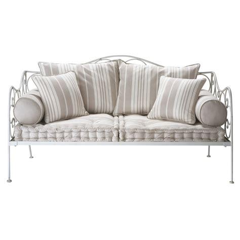 petit canapé chambre ado banquette à rayures 2 places en coton justine maisons du