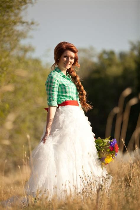 country wedding gown idea plaid top  ruffle skirt