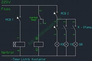 Rangkaian Lampu Jalan Dengan Timer Listrik Dan Kontaktor