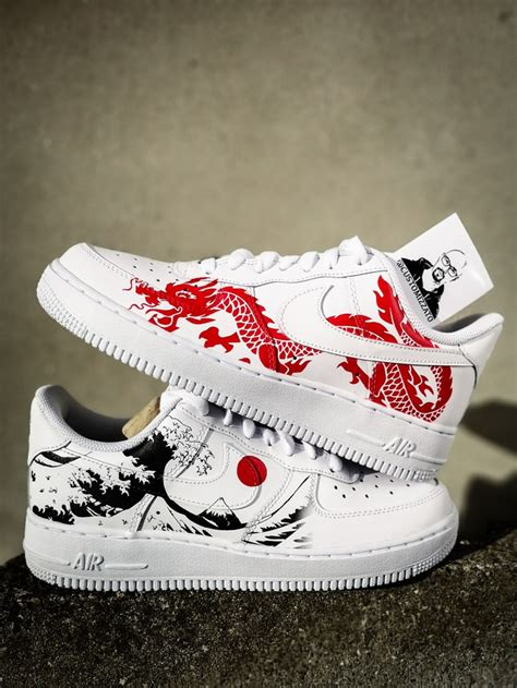 custom sneakers nike air force  red dragon kh  great wave  kanagawa  custom movement