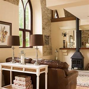 cream country living room with stove housetohomecouk With brown and cream living room designs