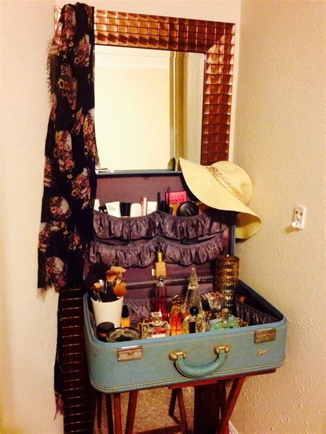 repurposed vintage suitcase  vanity inspired