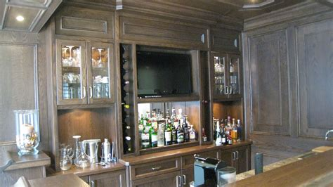 Bar Appliances by Custom Bar In Oak With Appliances And Tv Built In