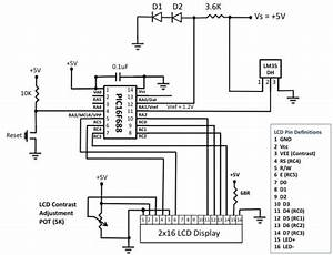 a digital temperature meter using an lm35 temperature With temperature sensor led meter circuit diagram