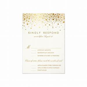 faux foil confetti gold and white vertical rsvp card With wedding invitation rsvp options