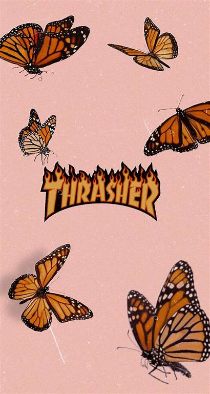 Aesthetic Butterfly Butterflies Thrasher Iphone Pastel Peach