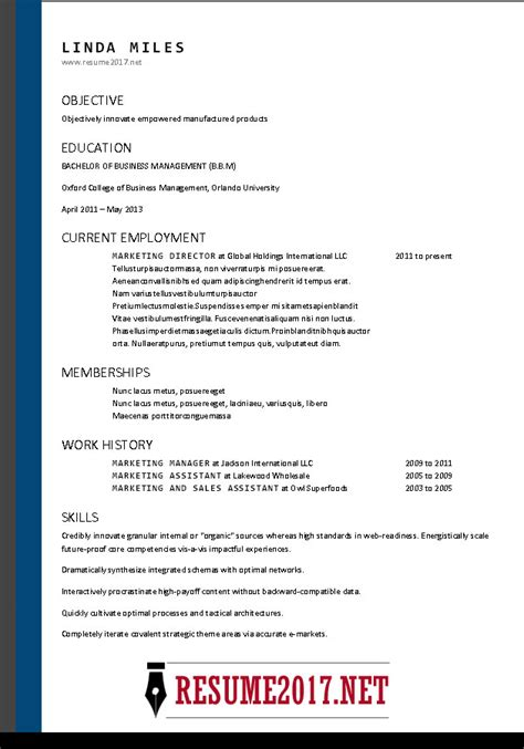 Resume Template 2017 by Free Resume Templates 2017