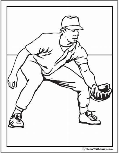 Baseball Coloring Player Pages Players Drawing Printable