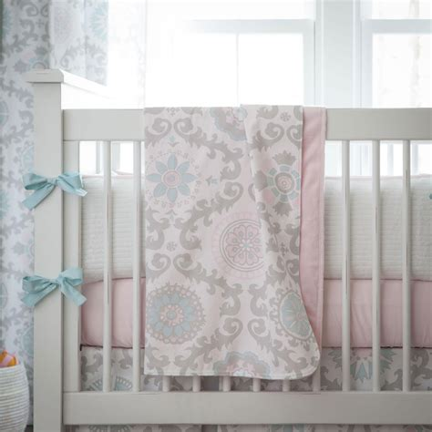 Pink And Gray Rosa Crib Blanket  Carousel Designs