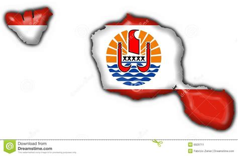 french polynesia flag map shape  tahiti stock image