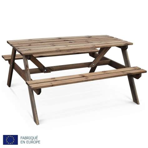 table de jardin en bois table de pique nique padano 150cm rectangulaire avec bancs salon de jardin en bois